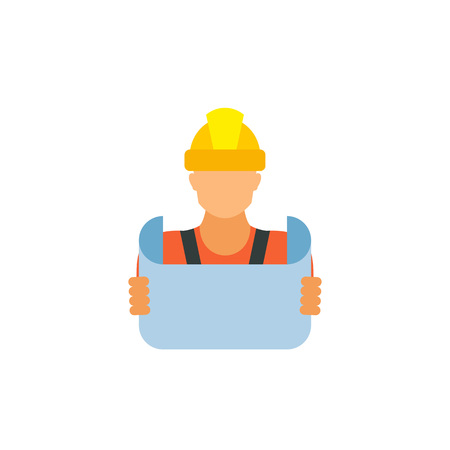 Icon of reviewing blueprint. Engineer, building contractor, foreman. Engineering concept. Can be used for topics like construction, architecture, builder