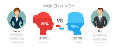 Men Versus Women Infographic Template Illustration