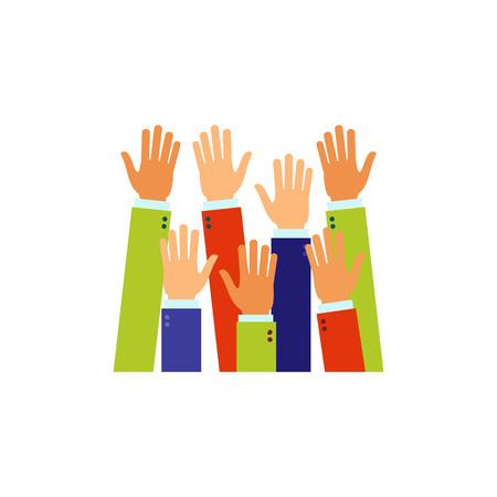 Raised up hands icon Illustration