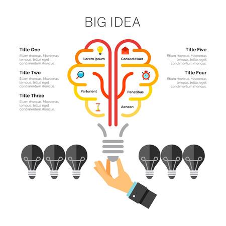Light Bulb Metaphor Chart Template Illustration