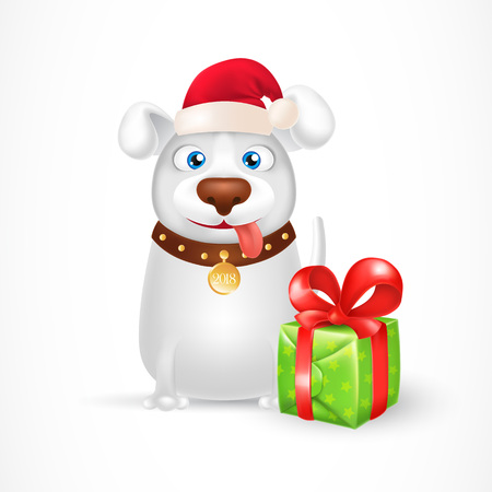 Cartoon dog wearing Santa Claus hat and sitting near gift box. New Year Day design element for greeting cards, posters, leaflets and brochures.