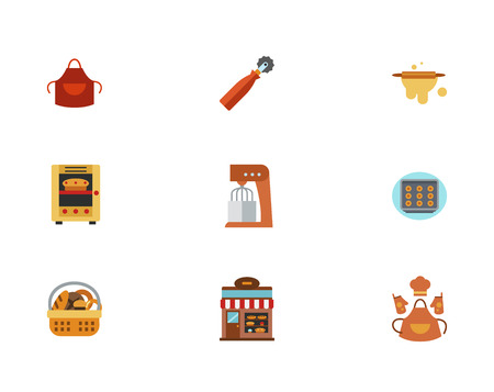 homemade bread: Making Pastry Icon Set