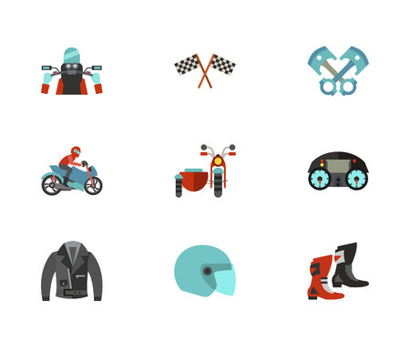 Motorcycling Icon Set Stock Photo