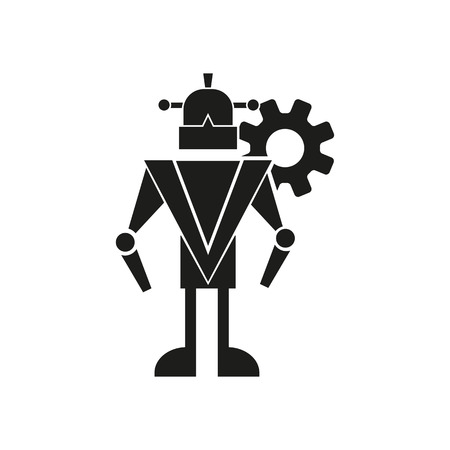 Robot and cogwheel icon