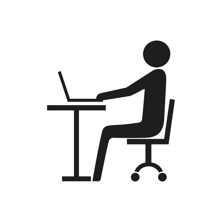 Man working at laptop in office icon.