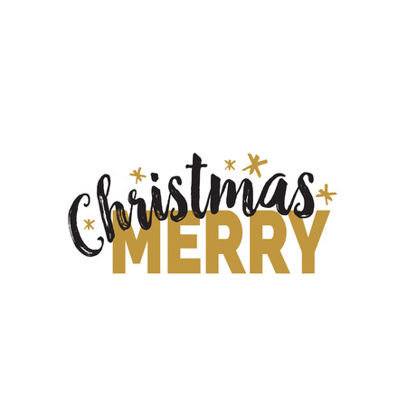 Merry Christmas Lettering with Asterisks Illustration
