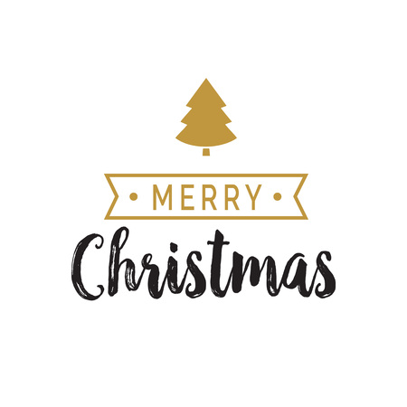 Merry Christmas Lettering with Ribbon