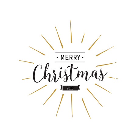 Merry Christmas Lettering and Ribbon Illustration