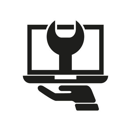 Icon of laptop maintenance. Computing, wrench, spanner, trouble. Web page concept. Can be used for topics like it support, repair, error