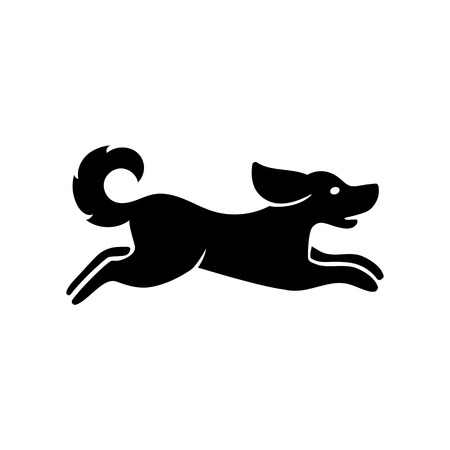 Icon of running dog. Pet, breed, activity. Animal concept. Can be used for topics like horoscope, hunting, freedom Illustration