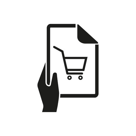 Icon of wish list. File, shopping cart, check-list. Shopping concept. Can be used for topics like buying, retail, want list, itemization