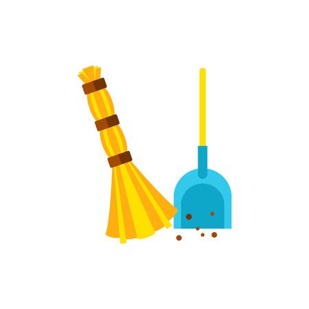 Broom scooping garbage icon Illustration