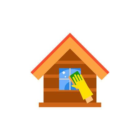 Hand in glove cleaning house icon Illustration