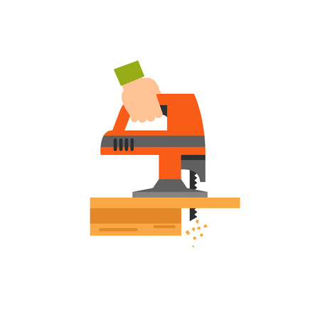 Hand sawing plank with jigsaw tool icon Illustration