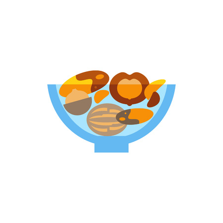 Nuts mix in bowl vector icon