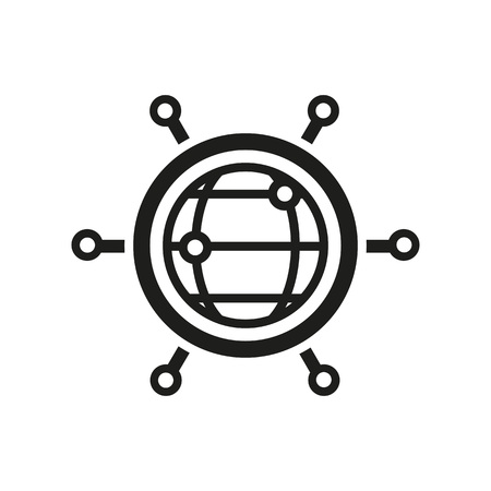 Global networking icon on white background, vector illustration.