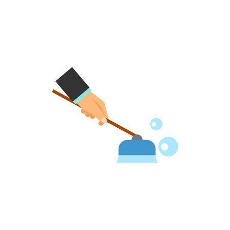 Businessman cleaning floor with brush icon Illustration
