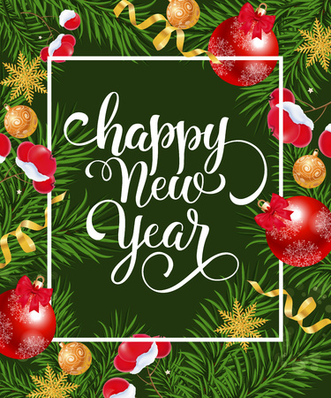 Happy New Year text on green background