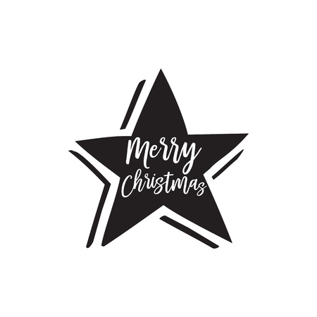 Merry Christmas lettering in black star Vectores