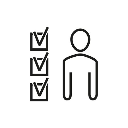 Icon of person and three checkboxes. Profile, test, questionnaire. Recruitment concept. Can be used for topics like employment, CV, research.