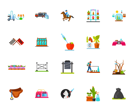 Horse riding and farming icons set. Can be used for topics like hippodrome, horticulture, gardening, planting