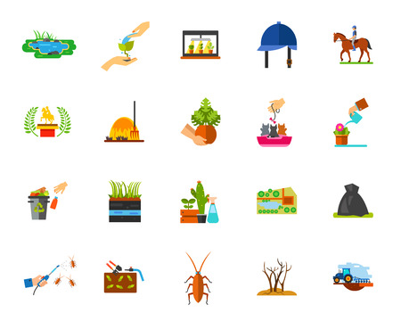Horticulture icon set. Can be used for topics like planting, farming, gardening, ranch