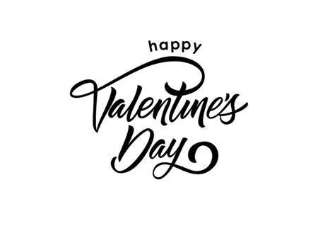 祝你情人节快乐。情人节设计元素。手写和打字文字,书法。用作贺卡、海报、单张及小册子。