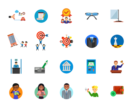 Legal service icon set Illustration