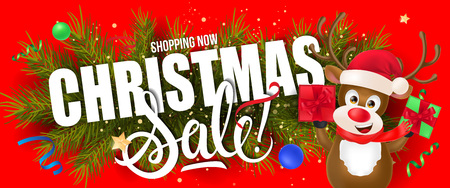 Christmas Sale Lettering with Reindeer