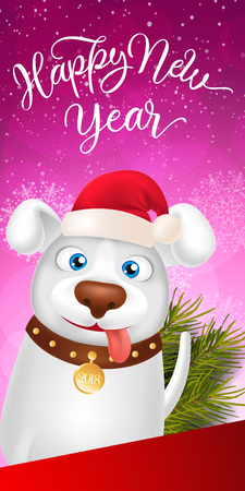 New Year Lettering with Cartoon Dog Illustration