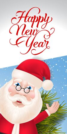 New Year Lettering with Santa Claus