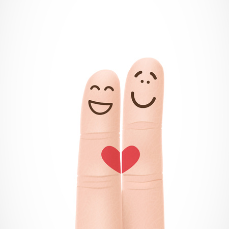 Funny fingers with faces in love