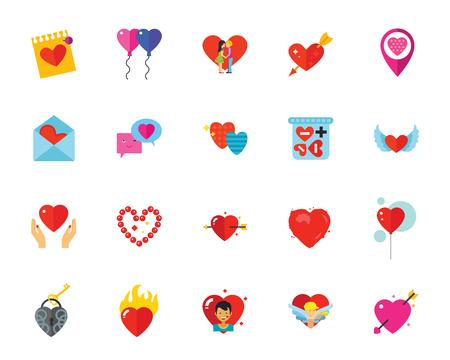 St. Valentine Day icon set Illustration