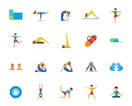 Yoga en fitness icon set