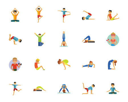 Yoga, fitness en gezondheid icon set