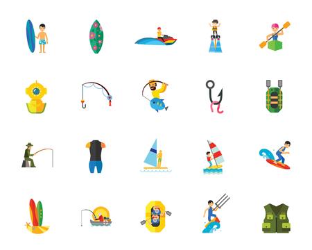 Water sport athletes icon set.