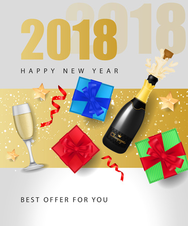 Happy New Year, twenty eighteen, best offer lettering with stars, bottle of champagne and present box. Inscription can be used for leaflets, festive design, posters, banners.