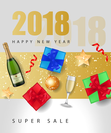 New Year Sale Lettering with Gifts