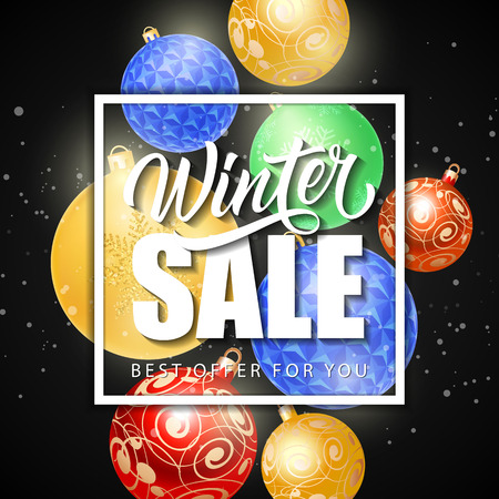 Winter Sale Lettering on Black Background