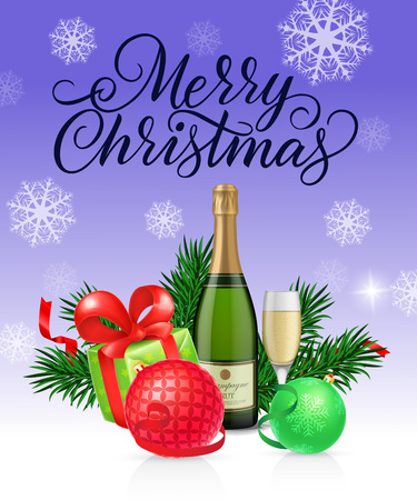 Merry Christmas lettering with fir sprigs, baubles, present boxes and champagne. Calligraphic inscription can be used for greeting cards, festive design, posters, banners