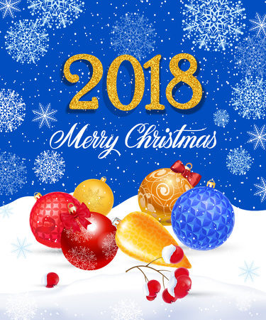Merry Christmas, twenty eighteen lettering with baubles and berries. Calligraphic inscription can be used for greeting cards, festive design, posters, banners.