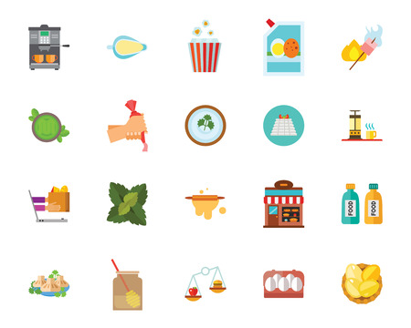Food icon set. Can be used for topics like cooking, baking, restaurant, kitchen Иллюстрация