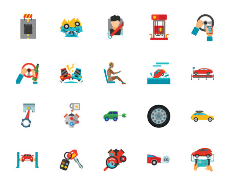 Automobile icon set. Can be used for topics like transportation, car, safety, accident Vettoriali