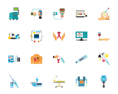 Medicine icon set. Can be used for topics like monitoring, hospital, clinic, treatment, healthcare, medical innovation. Illustration