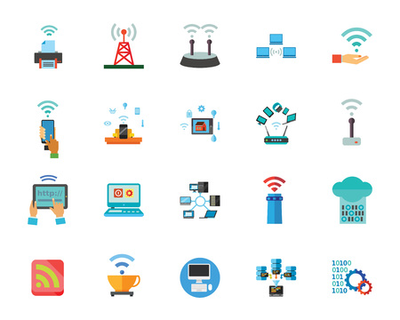 Wireless technology icon set. Can be used for topics like connection, computer, gadget, communication