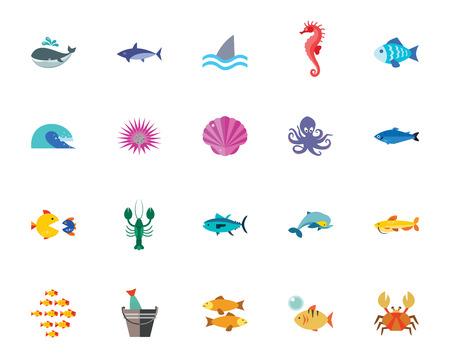 Conjunto de ícones de vida do mar. Pode ser usado para tópicos como animal, natureza, habitante, peixe