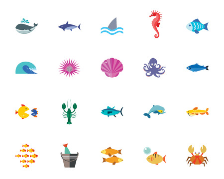 Sea life icon set. Can be used for topics like animal, nature, inhabitant, fish