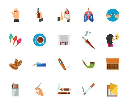 Smoking icon set. Can be used for topics like bad habit, cigarette, unhealthy living, tobacco