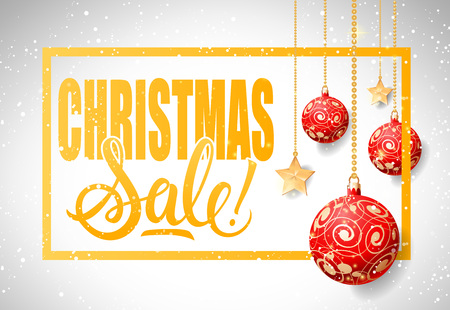 Christmas sale lettering in frame with hanging baubles. Inscription can be used for leaflets, festive design, posters, banners