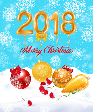 Merry Christmas, twenty eighteen lettering with baubles and berries, Calligraphic inscription can be used for greeting cards, festive design, posters, banners.